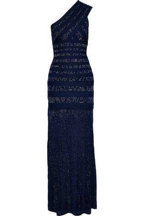 HERVÉ LÉGER Katrin one-shoulder lace-paneled bandage gown