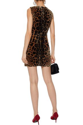 DOLCE & GABBANA Leopard-print silk-blend velvet jacquard mini dress
