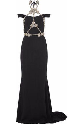 REEM ACRA Embellished silk-crepe halterneck gown