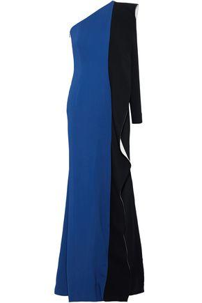 ELIZABETH KENNEDY One-shoulder color-block crepe-paneled stretch-cady gown