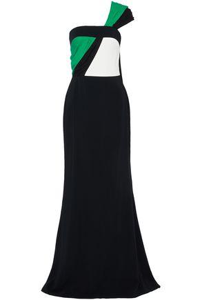 ELIZABETH KENNEDY One-shoulder color-block silk chiffon-paneled crepe gown