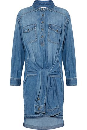 CURRENT/ELLIOTT The Twist tie-front denim shirt dress