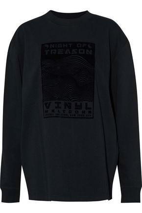 ALEXANDER WANG Flocked cotton-jersey sweatshirt