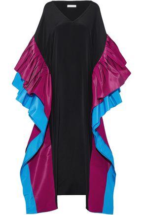 ELIZABETH KENNEDY Ruffled color-block silk faille-paneled cady gown