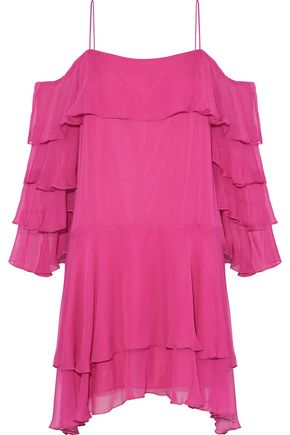 ALICE+OLIVIA Lexis cold-shoulder ruffled silk-chiffon mini dress