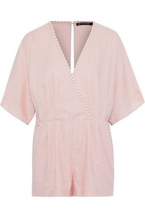 VIX PAULA HERMANNY Marion wrap-effect linen-blend playsuit
