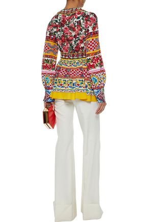 DOLCE & GABBANA Embellished printed silk top