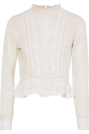 W118 by WALTER BAKER Masie embroidered cotton-gauze top