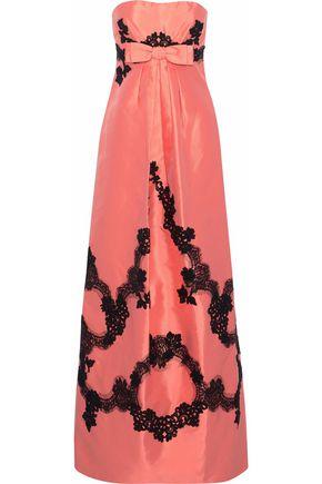 DOLCE & GABBANA Strapless lace-trimmed silk satin-twill maxi dress
