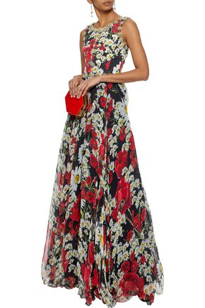 Dolce Gabbana Embellished Fl Print Silk Blend Jacquard And Chiffon Gown