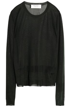 MARNI Washed-silk top