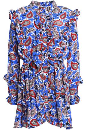 DODO BAR OR Ruffle-trimmed printed silk-crepe de chine mini shirt dress