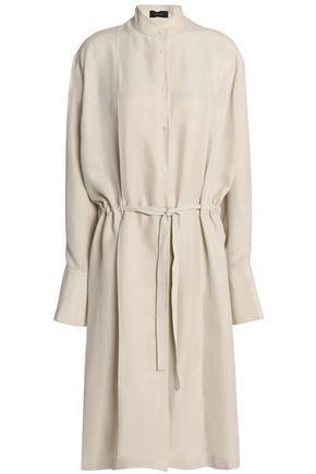 JOSEPH Belted washed-silk shirt dress