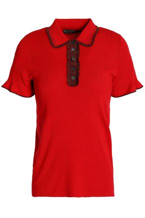 ALEXA CHUNG Ruffle-trimmed ribbed-knit polo shirt