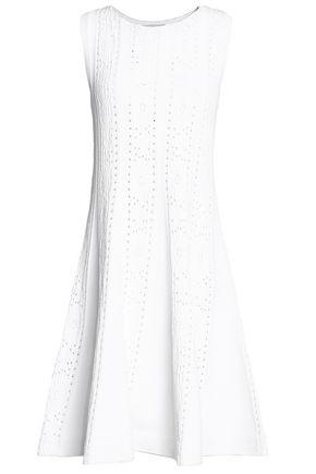 VALENTINO Flared pointelle-knit dress