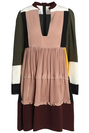 VALENTINO Paneled pleated silk crepe de chine mini dress