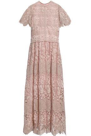 VALENTINO Scalloped metallic embroidered tulle midi dress