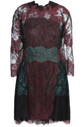VALENTINO Cape-back silk Chantilly lace mini dress