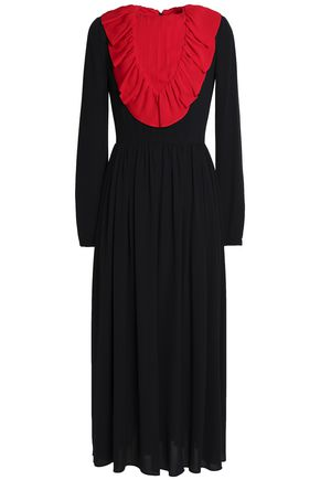 VALENTINO Ruffled two-tone silk-crepe midi dress