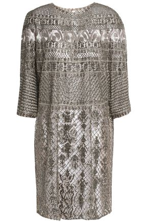 VALENTINO Metallic embellished embroidered tulle mini dress