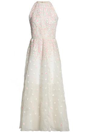 VALENTINO Embellished silk-organza halterneck gown