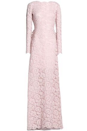 VALENTINO Bow-embellished ruffled corded lace cotton-blend gown