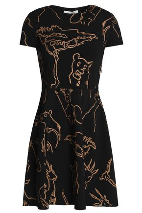 VALENTINO Printed ribbed-knit mini dress