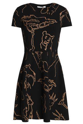 VALENTINO Printed ribbed-knit mini dress