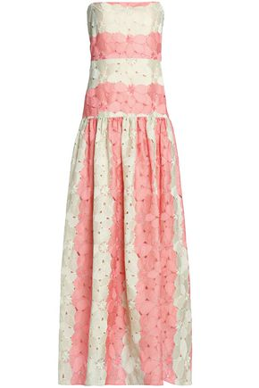 VALENTINO Two-tone gathered silk guipure lace gown