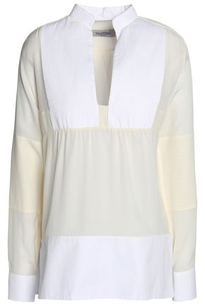 VALENTINO Paneled cotton-poplin and georgette blouse