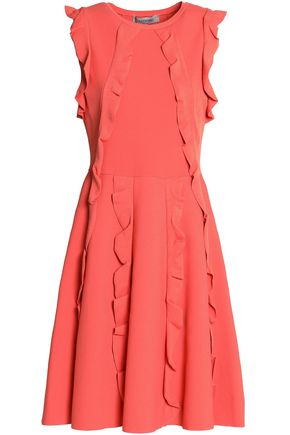 VALENTINO Ruffle-trimmed ponte mini dress