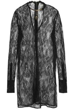 VALENTINO Fringe-trimmed woven silk coat