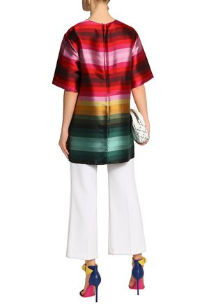 VALENTINO Striped duchesse silk-satin tunic