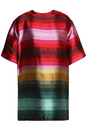 VALENTINO Striped silk satin-twill mini dress