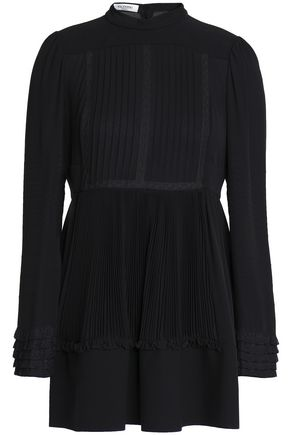 VALENTINO Lace-trimmed pleated silk blouse