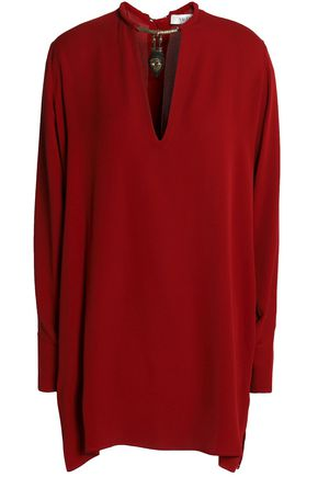 VALENTINO Embellished silk crepe de chine top