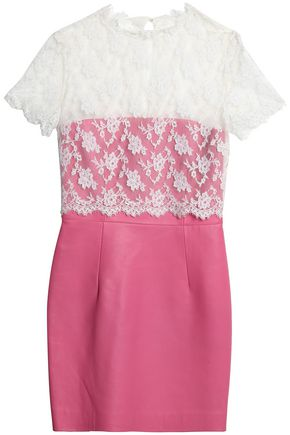 VALENTINO Layered Chantilly lace and leather mini dress