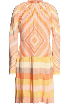 VALENTINO Pleated printed silk crepe de chine mini dress