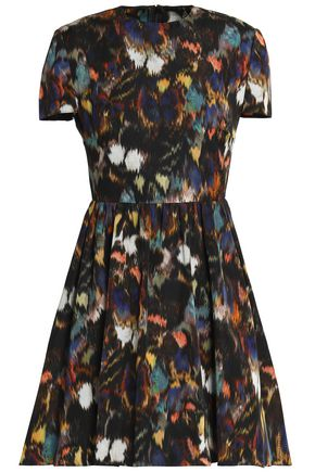 VALENTINO Pleated printed cotton and silk-blend mini dress