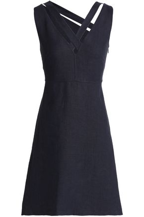 VALENTINO Flared cutout linen dress