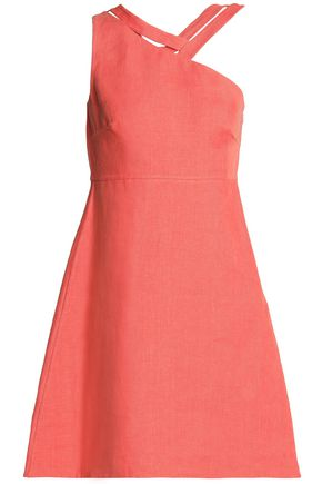 VALENTINO One-shoulder linen mini dress