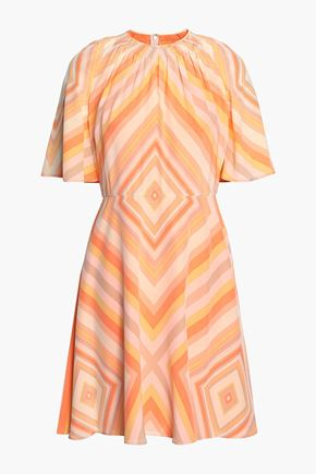 VALENTINO Gathered printed silk-crepe mini dress
