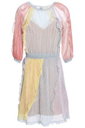 VALENTINO Ruffle-trimmed crochet-knit silk dress