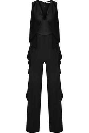 ALICE + OLIVIA Sarandon ruffled satin-paneled crepe jumpsuit