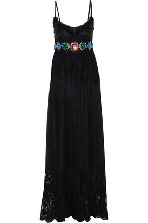 DOLCE & GABBANA Lace-paneled crystal-embellished silk-blend chiffon gown