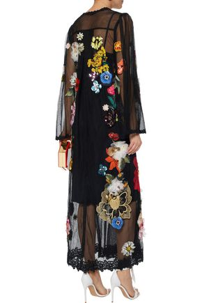 DOLCE & GABBANA Floral-appliquéd lace-trimmed mesh maxi dress