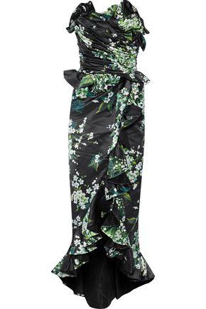 DOLCE & GABBANA Strapless ruffled floral-print duchesse silk-satin gown