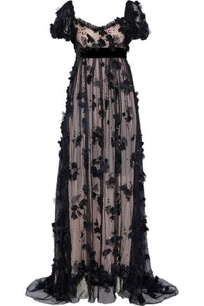 DOLCE & GABBANA Floral-appliquéd sequined Leavers lace gown