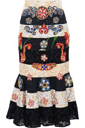 DOLCE & GABBANA Embellished brocade-paneled guipure lace midi skirt