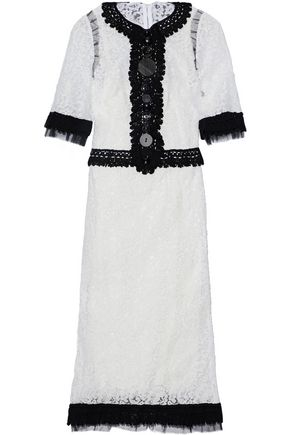 DOLCE & GABBANA Button-embellished two-tone corded lace dress